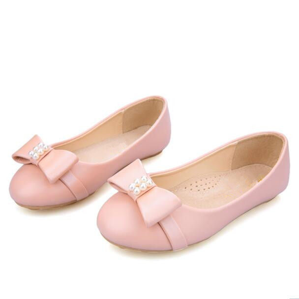 NEW Spring/Autumn Leather Shoes Girls Flats Princess Casual Loafers Baby Fashion Bowtie Beading Single Shoes Kids Sneakers 03
