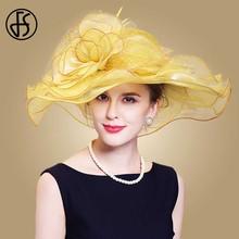 FS Elegant Women Fedora Hats Yellow Flower Fascinator Sinamay Church Hat Wide Br