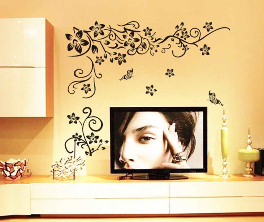 Hot DIY Wall Art Decal Decoration Fashion Romantic Flower Wall Sticker/ Wall Stickers Home Decor 3D Wallpaper Free Shipping 16