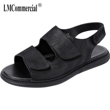 Genuine Leather sandals men summer youth Roman male fashion leisure beach shoes mens gladiator