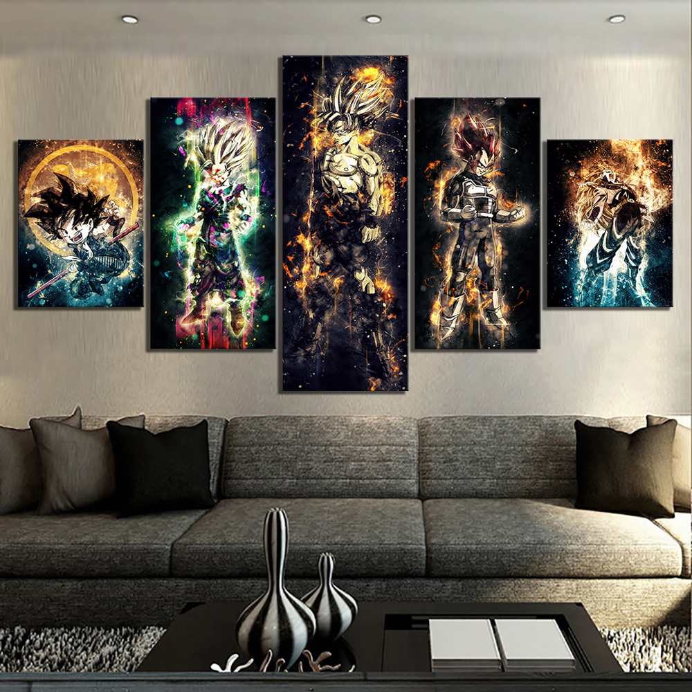 5 Piece Abstract Art HD Pictures Dragon Ball Anime Poster Artwork Paintings Canvas Art for Children Room Wall Decor 1