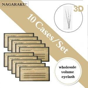 Image 1 - NAGARAKU pestañas postizas individuales, pestañas voluminosas, 10 cajas, lote de 0,07c 2D 6D hechas a mano, pestañas naturales de alta calidad, abanicos prefabricadas