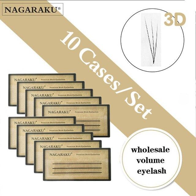 NAGARAKU pestañas postizas individuales, pestañas voluminosas, 10 cajas, lote de 0,07c 2D 6D hechas a mano, pestañas naturales de alta calidad, abanicos prefabricadas