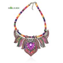Women hippie chokers necklaces & pendants maxi statement chockers multicolor boho ethnic c