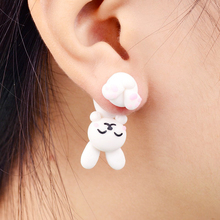 Imixlot Handmade Polymer Clay Cute Rabbit Stud Earrings 3d Animal Earring For Women Girl Kids Brincos Jewelry Gift