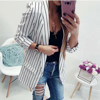 Women's New Casual Black And White Striped Coats Top Lapel Cardigan Long Sleeve Loose Jackets
