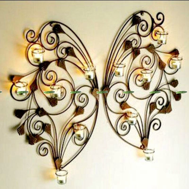 60cm classic metal 2set wedding home office furniture decor wall mount pocket pillar butterfly candle holder