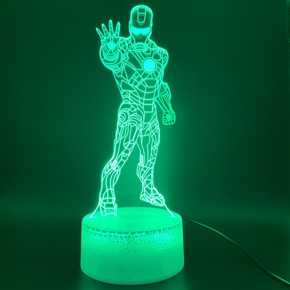 Novelty Light Marvel Ironman Figure Kids Bedoom Decor Desk Lamp Awesome Children Gift Iron Man 3D Illusion Led Night Light Lamp