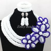 Fantastic White/Royal Blue Nigerian Crystal Beads Jewelry Set African Wedding Necklace Flower For Brides Free Shipping AIJ975