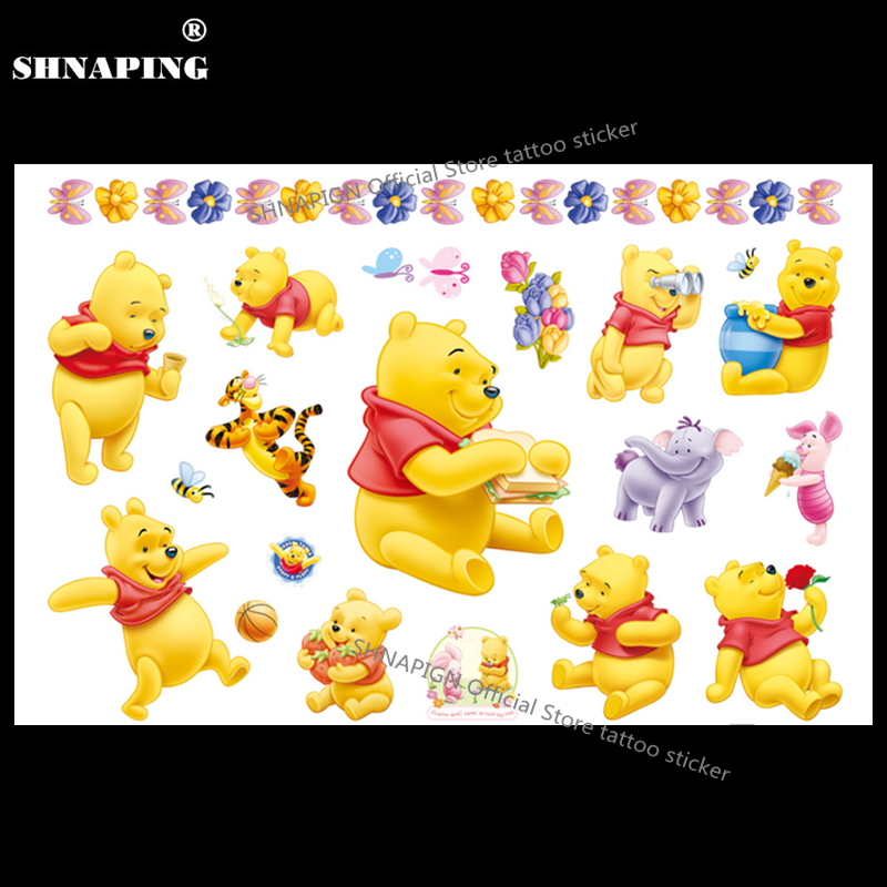 SHNAPIGN Winnie Honey Bear Niño Tatuaje temporal Body Art Flash Tattoo Stickers 17 * 10 cm Etiqueta de diseño de henna impermeable