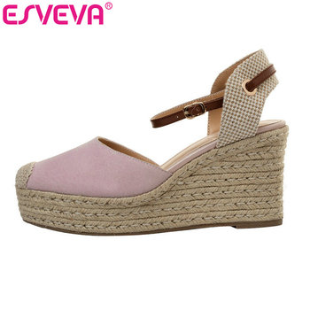 ESVEVA 2019 Women Sandals PU+Kid Suede Wedge High Heel Mixed Color Pointed Toe Buckle Fashion Slingback Shoes Size 34-40