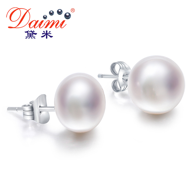 Daimi White Pearl Earrings Elegant 925 Solid Silver Stud Simple All Size