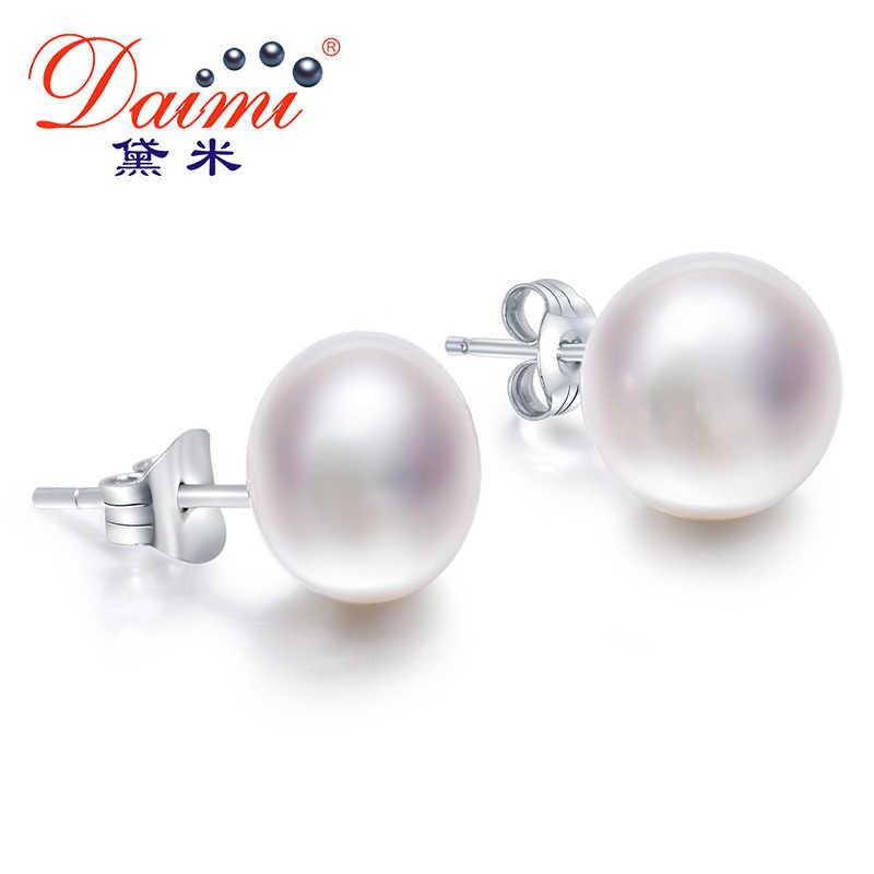 883644328 Daimi White Pearl Earrings, Elegant 925 Solid Silver Stud Earrings, Simple  Elegant All size