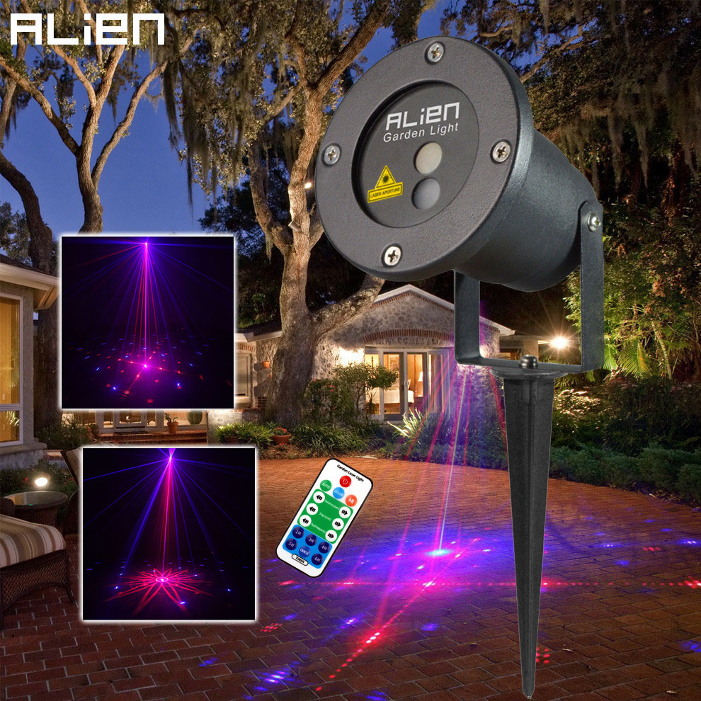 ALIEN Outdoor Laser Lights 8 Patterns Red Blue Laser Projector Lighting Christmas Waterproof Landscape Garden Xmas Tree Light outdoor waterproof green lamp red garden tree laser landscape projector with 10 feet cable christmas lights star