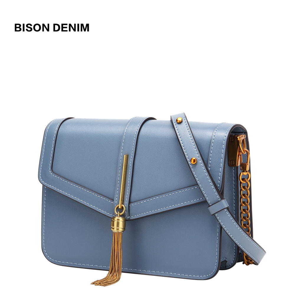 BISON DENIM NEW Brand Women Bag Over Shoulder Cow Leather Vintage Crossbody Bags for Women 2019