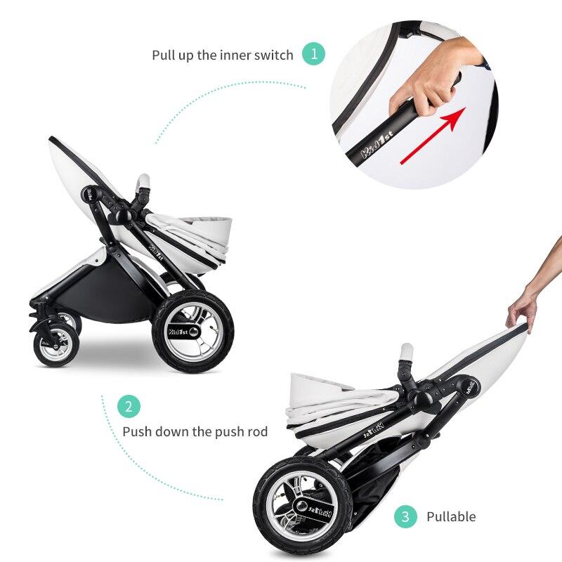 EU 2 in 1 Kinderwagen multifunctionele Luxe Kinderwagen Vouwen Ultra Licht Kan zitten kan worden liggen Kind Trolley 4