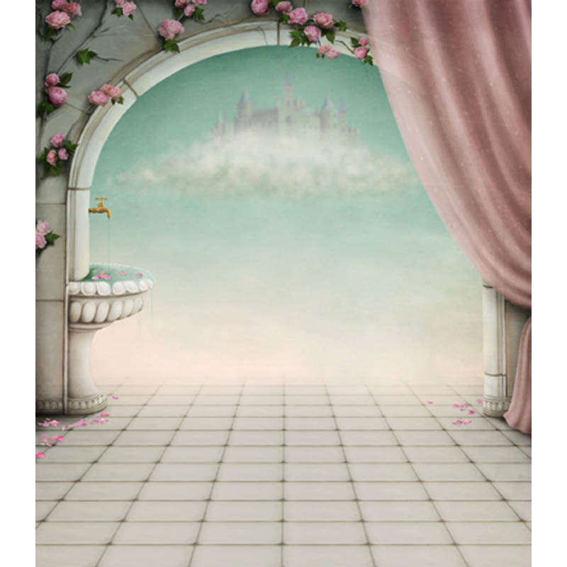 fairy tale Clouds Castle Curtain Flowers Brach Arch Gate Custom Photography Backdrops Studio Backgrounds Vinyl 5X7ft CM-6925 purple lighting stage curtain star photography backgrounds high grade vinyl cloth computer printed custom backdrops
