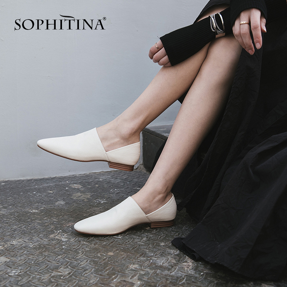 SOPHITINA Casual Women s Flats Design Fashion Shallow High Quality Genuine Leather Shoes Handmade Round Toe