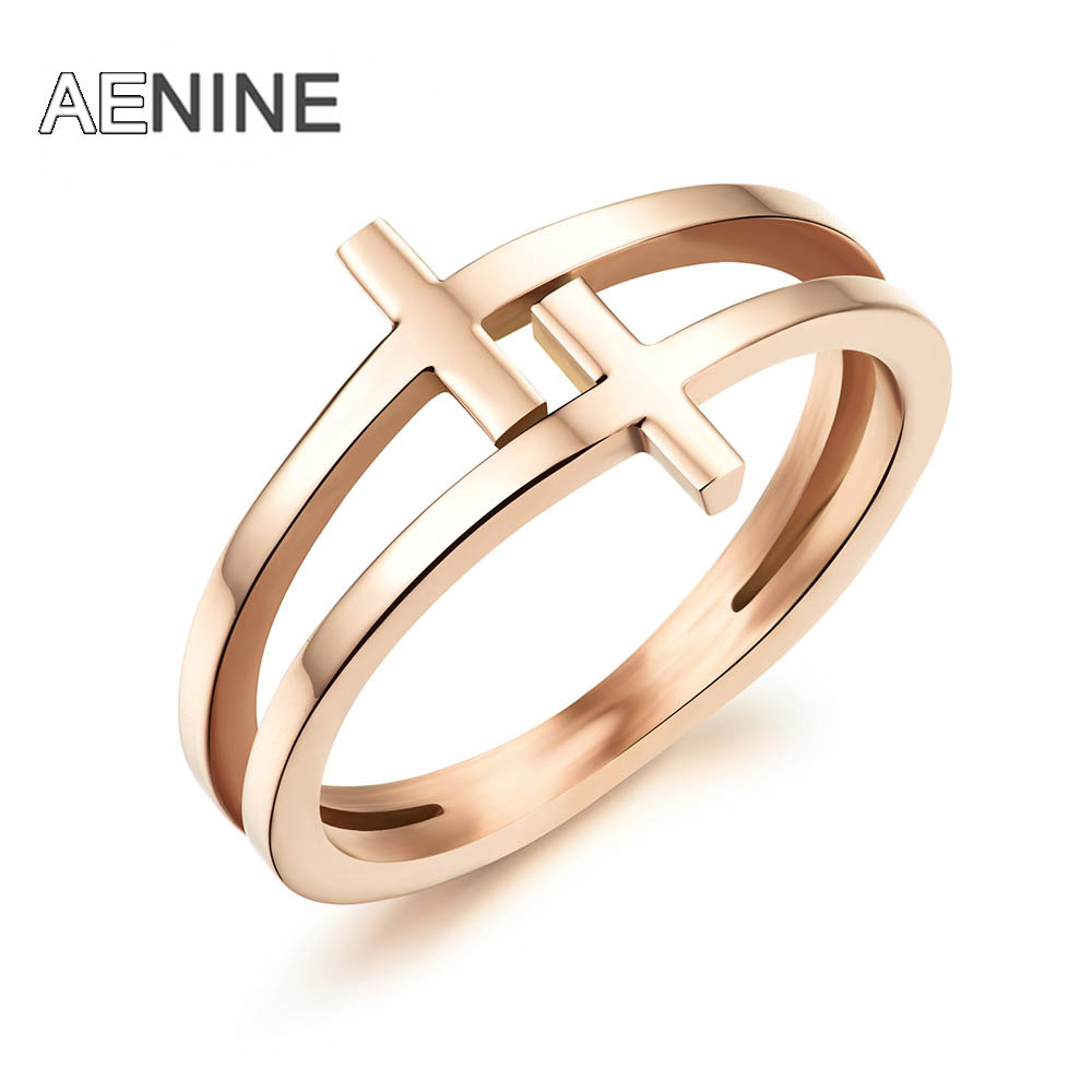 AENINE Rose Gold Color Classic Double Layer Cross Design Finger Rings Trendy Stainless Steel Ring Jewelry For Women Gifts OGJ491