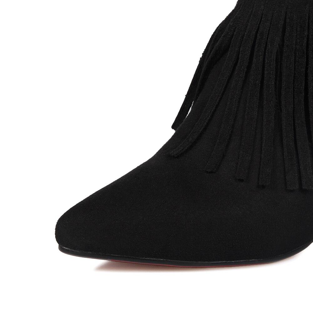 3ce20e5c4fc87 Spitz Frauen Stiefeletten Neue High Martin Reißverschluss Quaste Heels  Stiefel 34 43 Größe Große Schuhe Damen ...