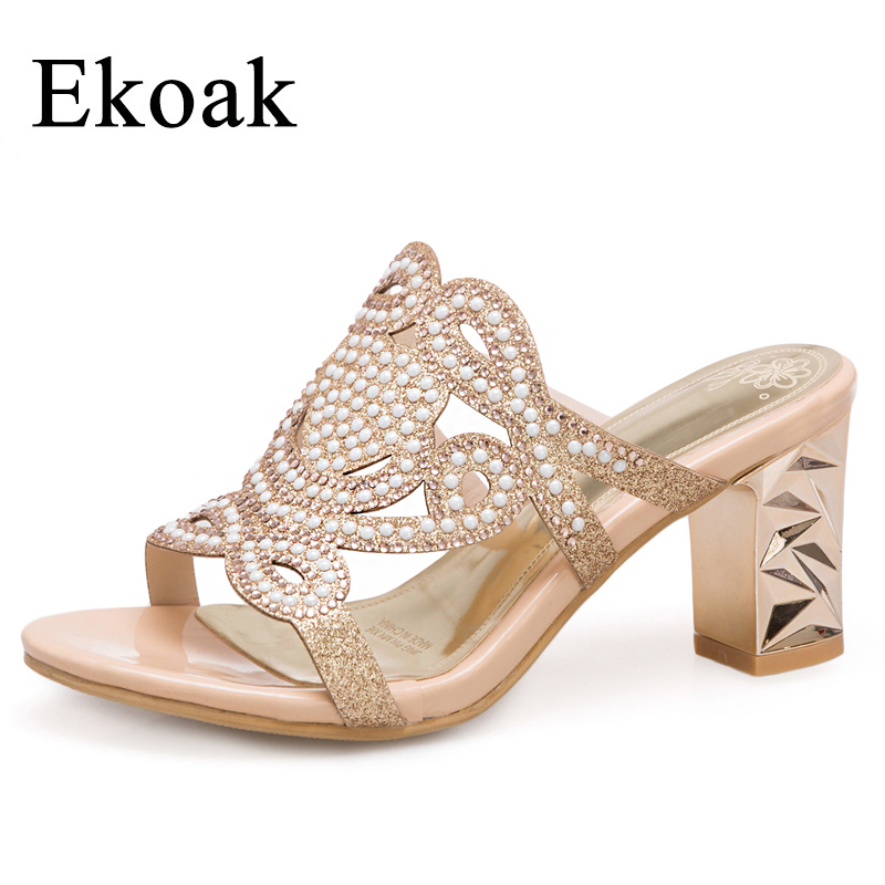 Ekoak New 2018 Crystal Women Sandals Summer Fashion Party Women Shoes Ladies Sexy Open Toe High Heels Shoes Woman new women sandals thin high heels open toe sexy party spring summer women shoes high heels sandals woman lyx7 q10