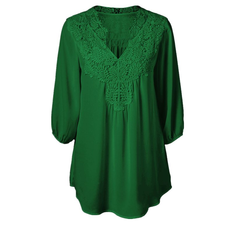 5Xl Plus Size Tops Women Chiffon Blouse Shirt Lace Up -6261