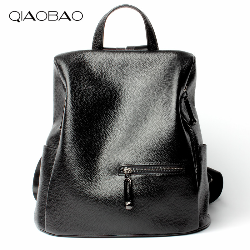 QIAOBAO 100% Natural Cowhide Leather Backpack Women Bags Famous Style Backpack Girls School Bags Zipper Shoulder Womens BagQIAOBAO 100% Natural Cowhide Leather Backpack Women Bags Famous Style Backpack Girls School Bags Zipper Shoulder Womens Bag