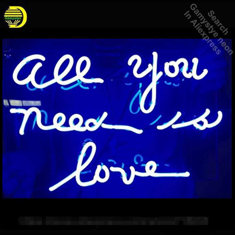 все цены на Neon Sign Light Beer Bar Girls Wall Window Lights Bedroom Home Signs ALL YOU NEED IS LOVE Art Lamps Glass tubes With Clear Board