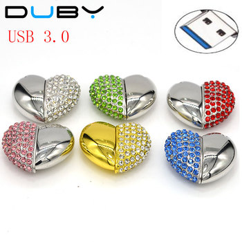 Lovely Heart Usb Flash Drive 32GB Necklace Chain Pen Drive 16GB 8GB 4GB Pendrive 3.0 Gadget Computer Gift USB Stick