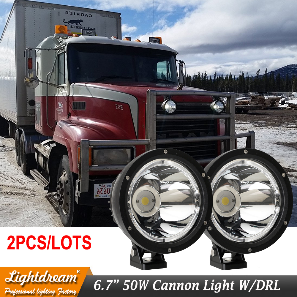 Lightdream 6.7 Inch 50W Cannon <font><b>LED</b></font> Driving Lights 12V 24V Spotlights Narrow Beam 4&#215;4 off <font><b>road</b></font> <font><b>LED</b></font> Cannon headlights W/DRL x2pcs