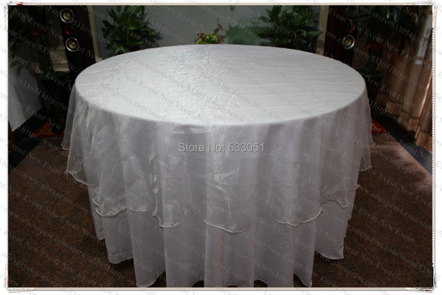 275cm Round No 13 White Color Organza Table Overlay Cover Tablecloth For