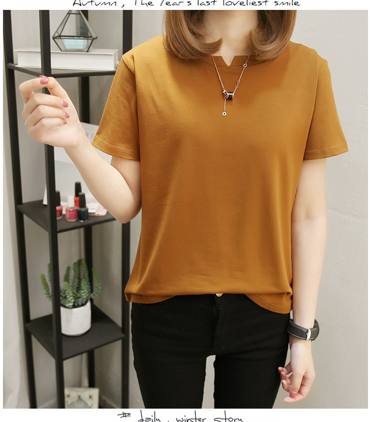 Women Loose Style Solid Tee Shirt Female Short Sleeve Top Tees O Neck T shirt Women