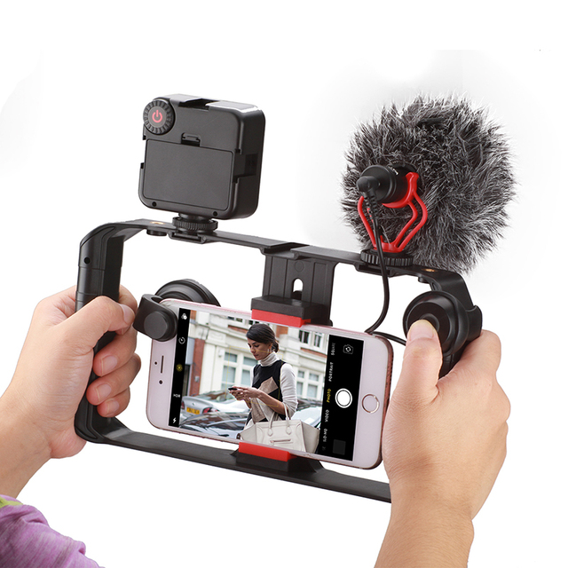Ulanzi Smartphone Video Rig Youtube Facebook Live Stream Stabilizer w Microphone Led Light Bluetooth Remote Control for iPhone 8 2
