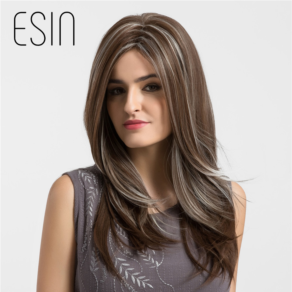 Esin 24 Inch Women's Wigs Centre Parting Long Natural Wave Synthetic Layered Style Hair Dark Brown with Highlights Full Wig