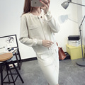 Women's knit jacket + skirt suits autumn women's suits solid color simple fashion round neck Knit + skirt two-piece women
