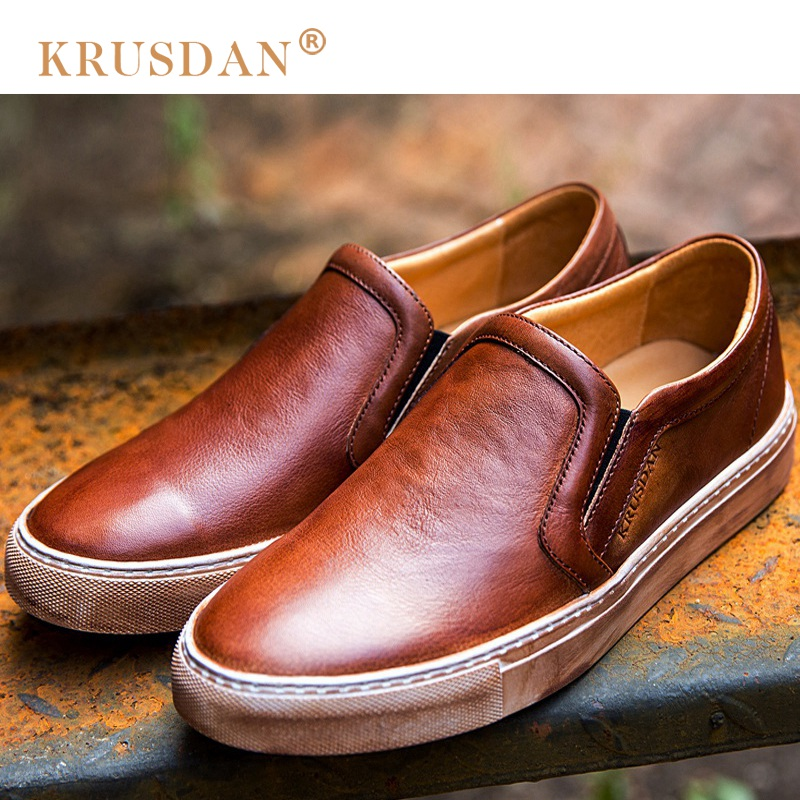 KRUSDAN Vintage Brush Off Round Slip on Man Flat Platform Shoes Genuine Leather Comfortable Loafers Men's Casual Footwear NK77