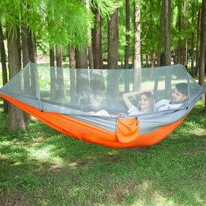 Image 2 - 250*120cm configuración rápida hamaca de red portátil cama colgante para dormir para acampar al aire libre viajes senderismo 98*47 tienda Pop Up