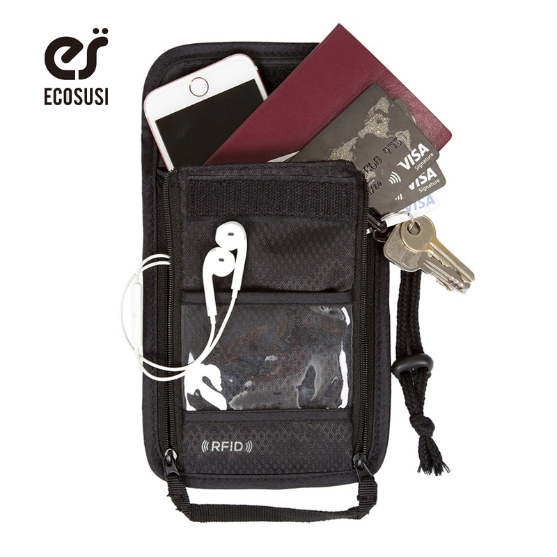 ECOSUSI New RFID Passport Wallet Passport Bank Card Holder Bag Passport Cover Casual Travel Coin Holder etya bank credit card holder card cover
