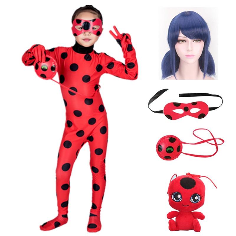 Fantasia Kids Adult Lady Bug Costumes Girls Women Child Spandex Ladybug Costume Jumpsuit Fancy Halloween Cosplay Marinette Wig