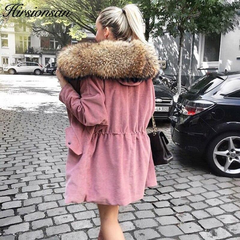 Hirsionsan Winter Jacket Women 2017 Large Real Raccoon Fur Parka Corduroy Winter Coat Thick Warm Lambswool Detachable Parkas hirsionsan large raccoon fur collar parka winter jacket women 2017 new korean fashion corduroy outwear thick warm hooded coat