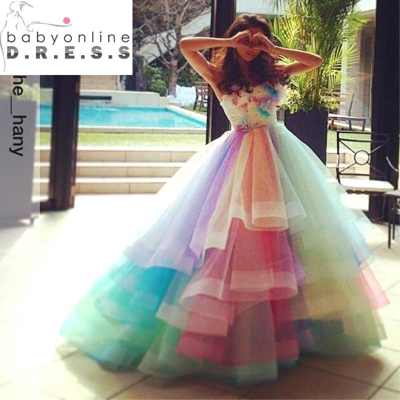 Popular Rainbow Wedding Dresses-Buy Cheap Rainbow Wedding