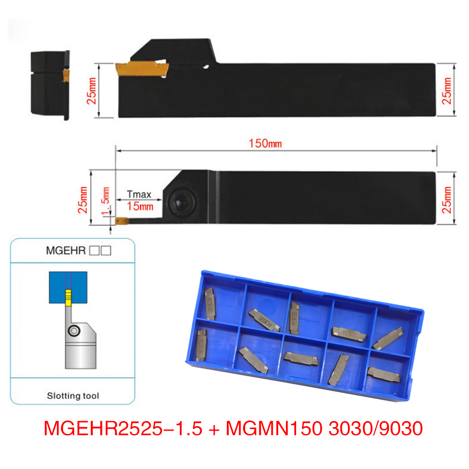 10pcs MGMN150 Carbide Inserts Golden Blades + 1pc MGEHR2525-1.5 MGEHL2525-1.5 Turning Tool Holder Boring Bar with Wrench10pcs MGMN150 Carbide Inserts Golden Blades + 1pc MGEHR2525-1.5 MGEHL2525-1.5 Turning Tool Holder Boring Bar with Wrench