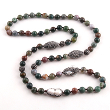 Women Necklace Paved-Stone Pearl Ethnic Handmade Fashion Rugby Bead Long-Knotted
