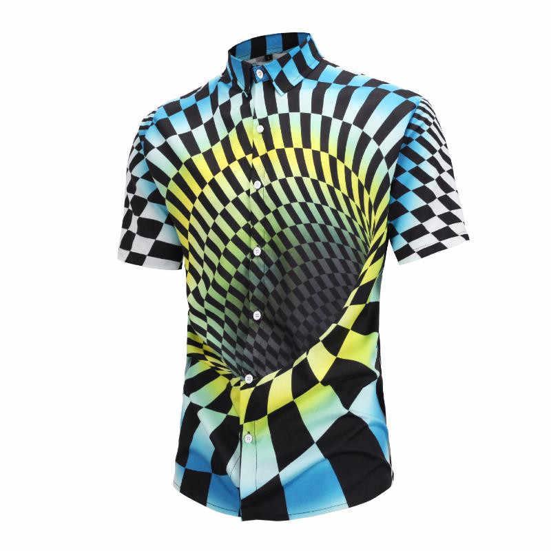 Новые Летний стиль модный принт с короткими рукавами рубашки Для мужчин головокружение гипнотический красочная печать 3D рубашки мужские рубашки