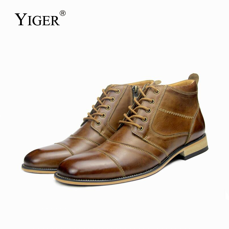 YIGER New Men Martins Boots Man Ankle Bots Genuine Leather Handmade Large Size Man Lace-up Casual Boots Male Chelsea Boots  280