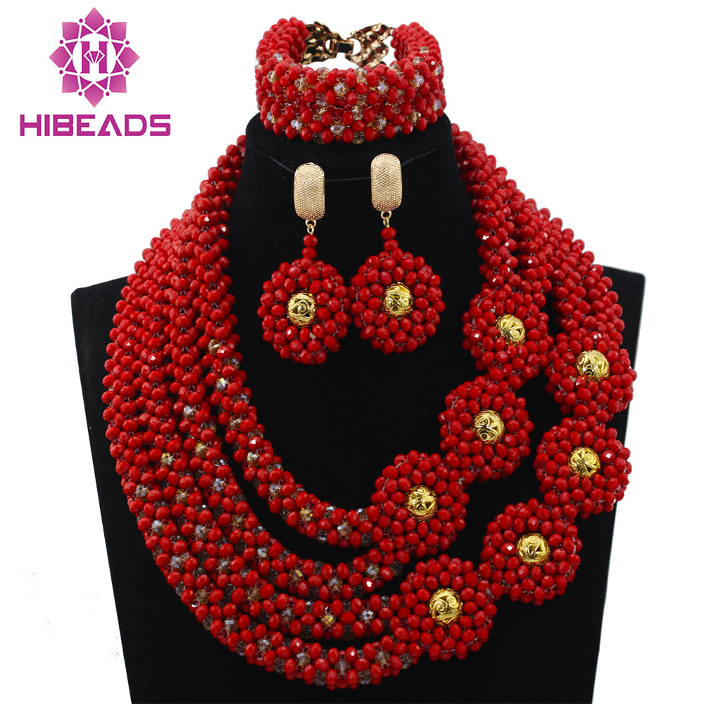 Populaire rouge africain mariage cristal femmes bijoux ensemble boules d'or nuptiale fête Inspiration événements bijoux livraison gratuite QW173
