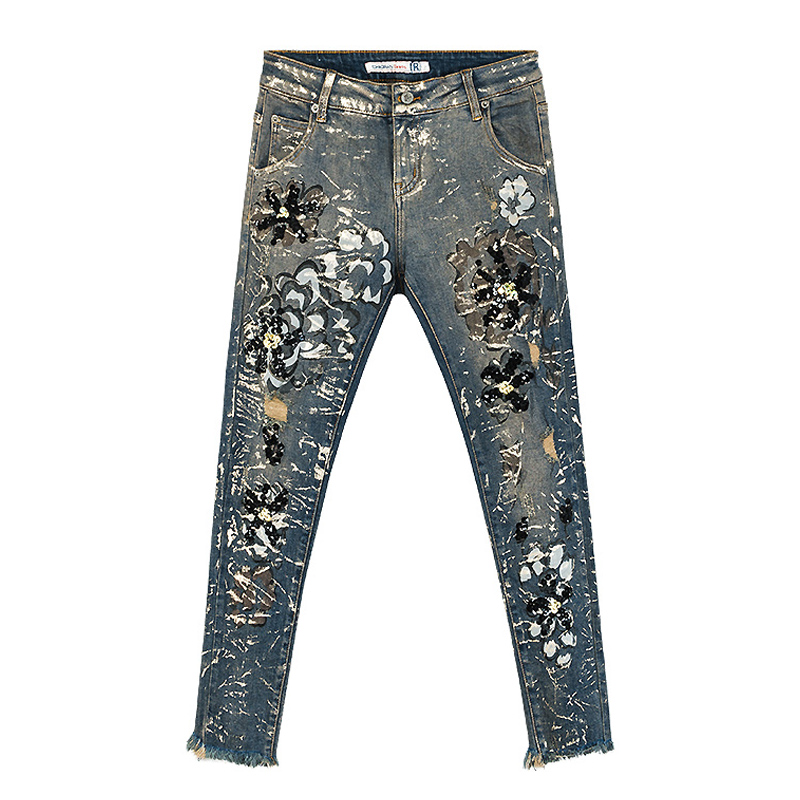 Para Casuales Denim Borla Pintado De Pantalones Lentejuelas Verano pantalones Floral Mujer Jeans Primavera Mujeres 7TpcA