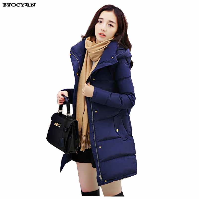 New Winter 2017 Medium Long Big Yards Women Jacket coat High-end Fashion Hooded Thickening Eiderdown Cotton Slim Outerwear Q566 big yards for women s shoes in the fall and winter of 2016 high thickening bottom anti slip with warm confined new fashion shoes