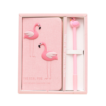 Creative Cute Pink Flamingo Notebook With Pen Ornaments Desktop Crafts Student Kids Gifts Home Decor Accessories Model