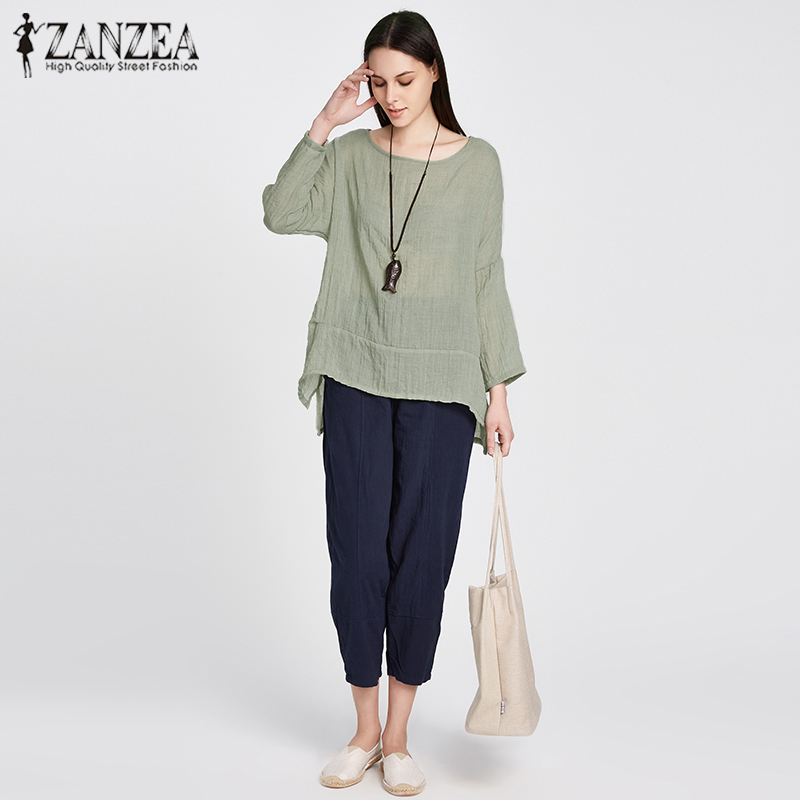 ZANZEA 2019 Spring Harajuku Women Cotton Linen   Blouse   Casual Solid O Neck Long Sleeve Loose Split   Blouse     Shirt   Pullover M-5XL